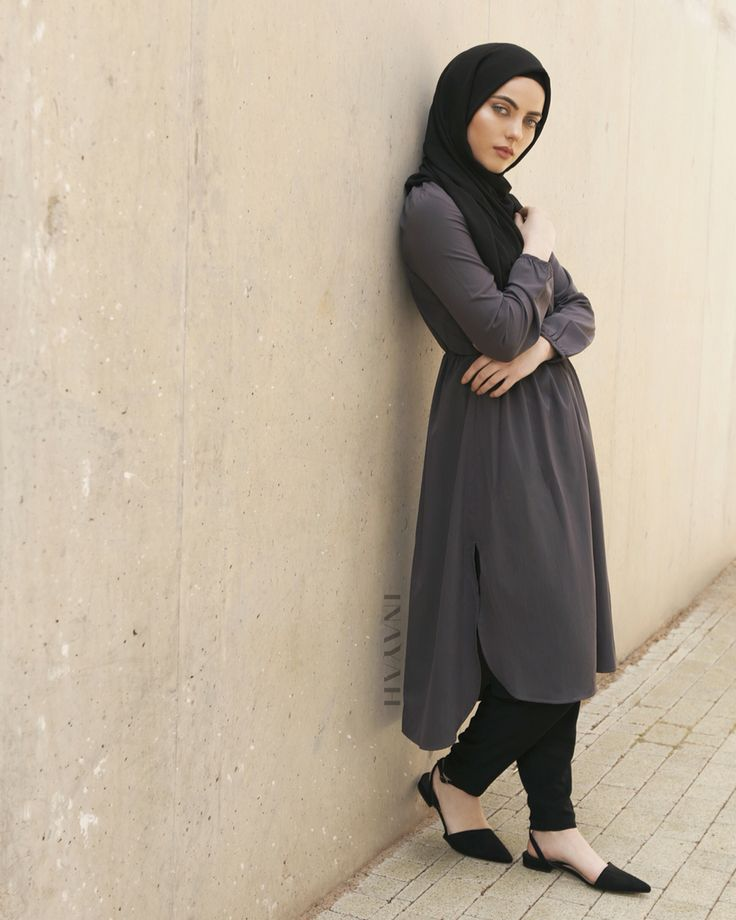 Daily casual classics involve curved hem detail and side slits. Available in-store and online: Plum Grey Curved Hem #Midi + Black Rayob #Hijab - www.inayah.co