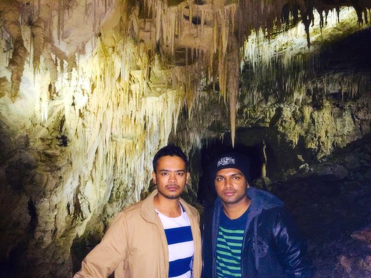 """""""Hi from Sabil and Harsha - we are doing the Masters of Construction Management program. The pic was taken at Waitomo glow worm caves"""""""
