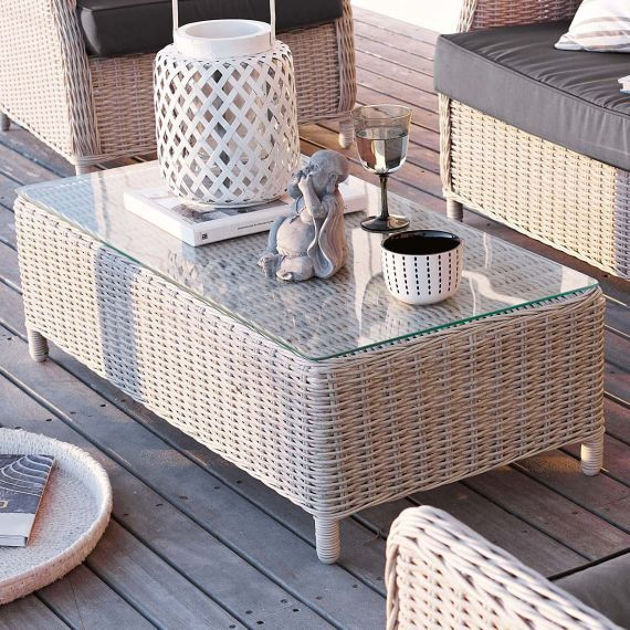 outdoor couchtisch mit glasplatte kunststoffrattan vorderansicht impressionen rattan bast. Black Bedroom Furniture Sets. Home Design Ideas