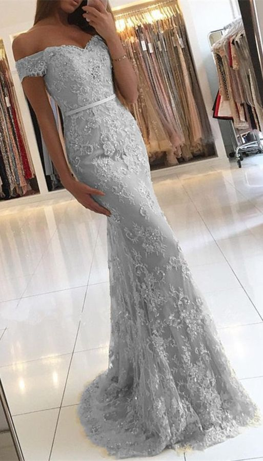 mermaid prom dresses,lace long prom dress,off the shoulder prom party dresses,grey prom dresses
