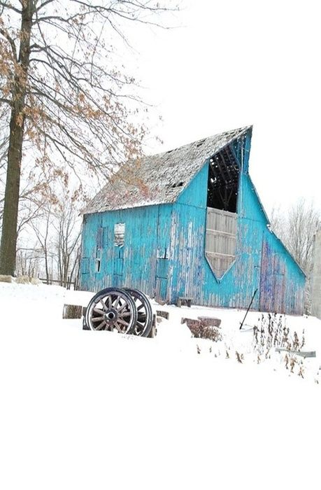 Great blue barn, note the drop down door.....so pretty in the snow...