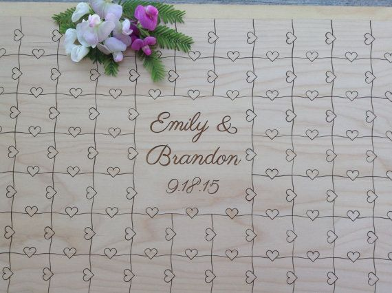 96 pieces Custom Puzzle Wedding Guest Book by NorthernOwlCreations