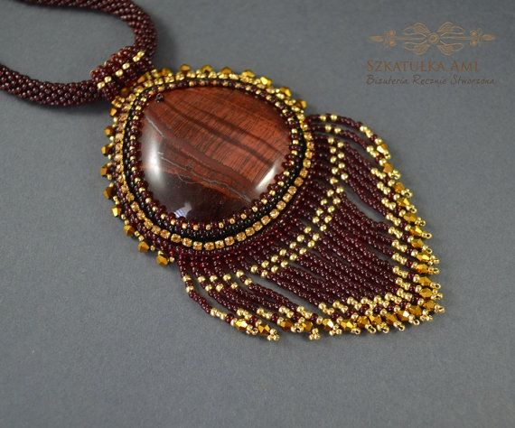 Large Beaded Stone Necklace Stone with the effect by SzkatulkaAmi