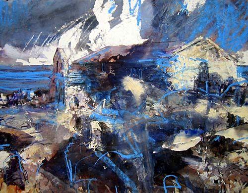 David Tress   'Llangelynnin (Gwynedd) I (Sea Church)', mixed media on paper, 56x76cm, 2005