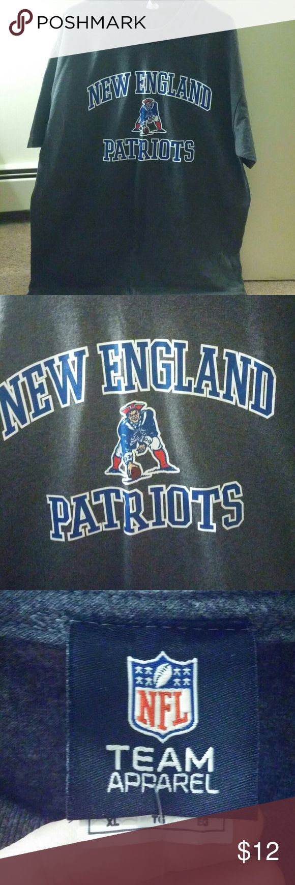 NWOT Patriots Tee Dark grey, unisex, New England Patriots t-shirt. Short sleeve. Purchased at the Patriots Pro Shop , new with tags! Makes a great gift! Super Bowl champs 2017 :) Never worn! NFL Team Apparel Tops Tees - Short Sleeve