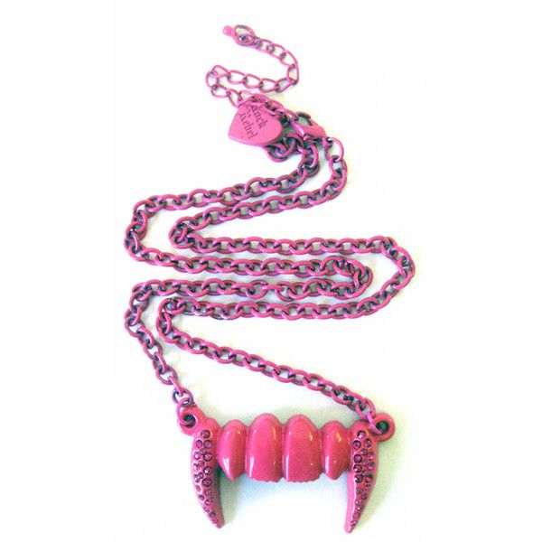 Evil Fang Pendant Pink ($8.88) ❤ liked on Polyvore featuring jewelry, necklaces, accessories, pink, pink necklace, e.vil, pendant jewelry, pink pendant necklace and pendants & necklaces