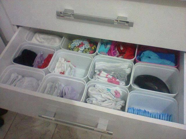 Use ice cream plastic containers as dividers for drawers…keeps everything organized.