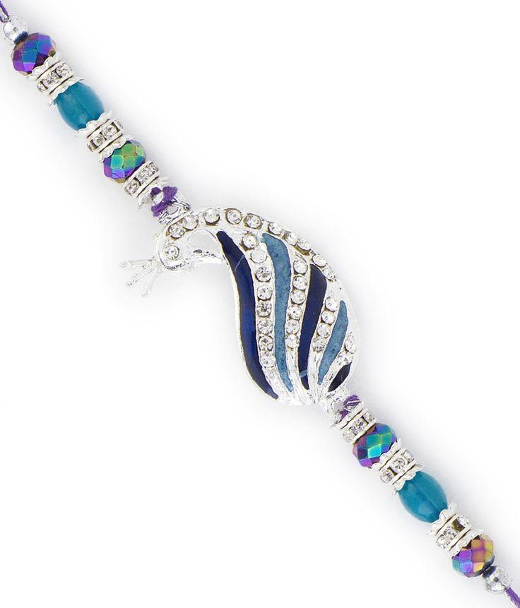 Aapno Rajasthan Peacock Shape Multicolor Cyrstal Beads Rakhi