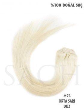 613 Orta Sarı Düz Çıt Çıt Saç Seti