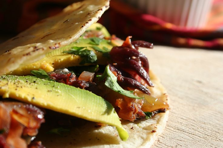 Exotic Hibiscus Tacos! After you make you Agua de Jamaica or Hibiscus tea, reserve the flowers for a delicious taco filling! Great for hangovers too :p  The Vegetarian Blog