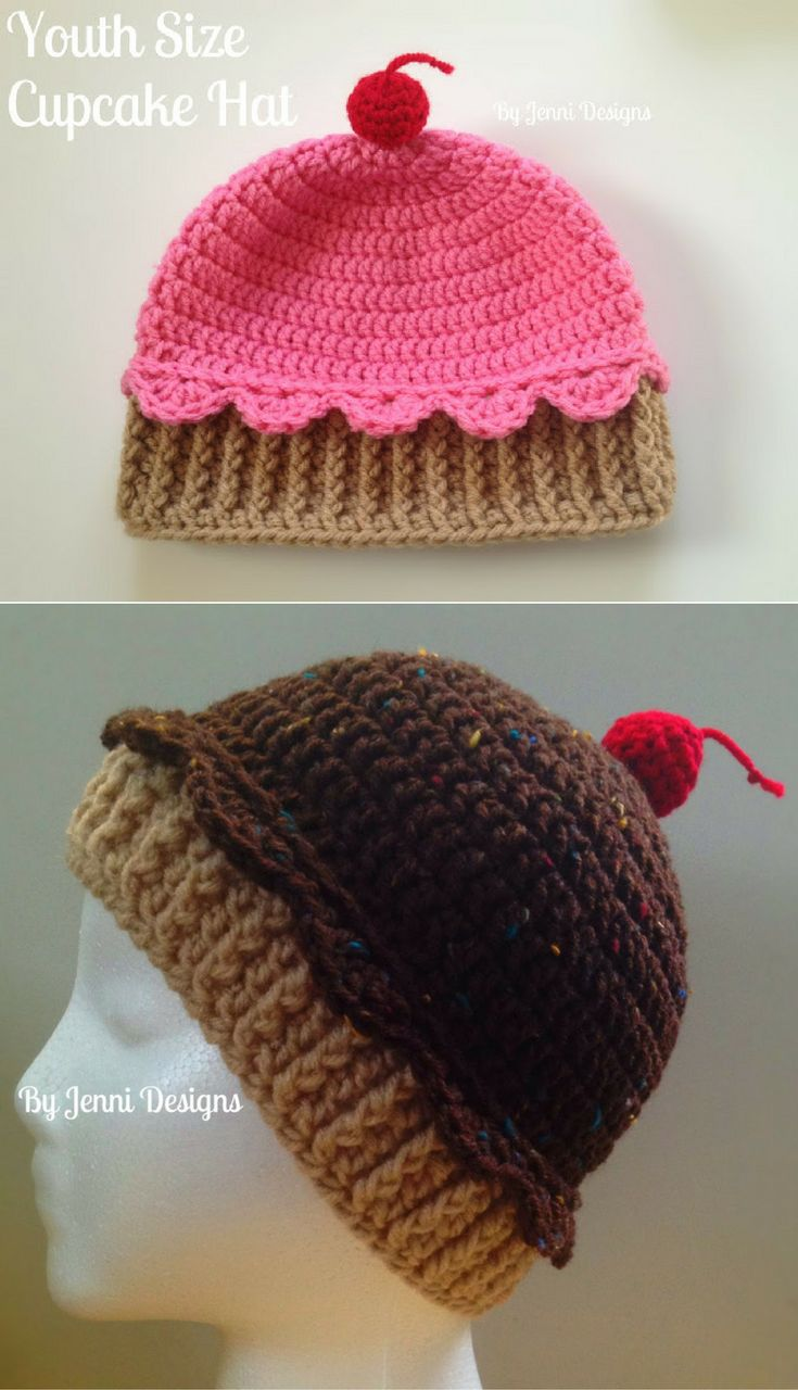 Best 25 crochet cupcake hat ideas on pinterest repeat crafter free crochet pattern youth size crochet cupcake hat bankloansurffo Image collections