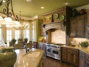 French Country Kitchen. Notice the colored ceiling.