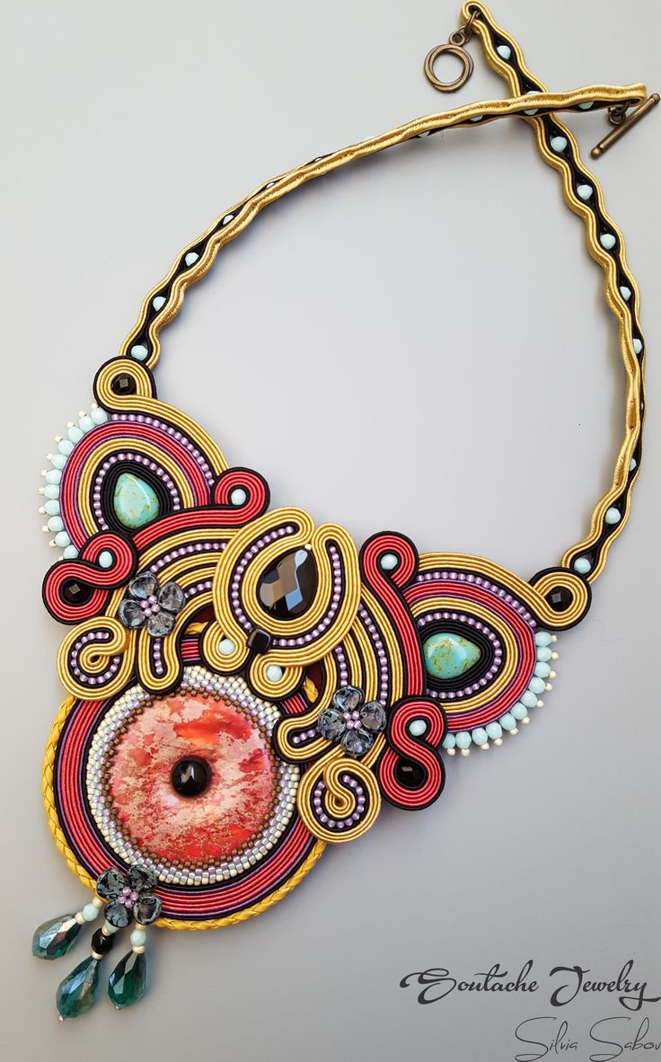 Dream on Unique soutache necklace with jasper donut and onyx