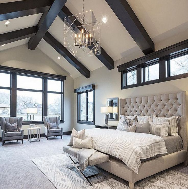 Beautiful Bedroom Sitting Areas: Vaulted Ceiling's Dramatic Chandelier Oversized Windows