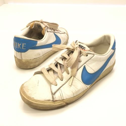 Vintage-Nike-Leather-Tennis-Shoes-Sneakers-White-Blue-Swoosh-Womens-9-Mens-8