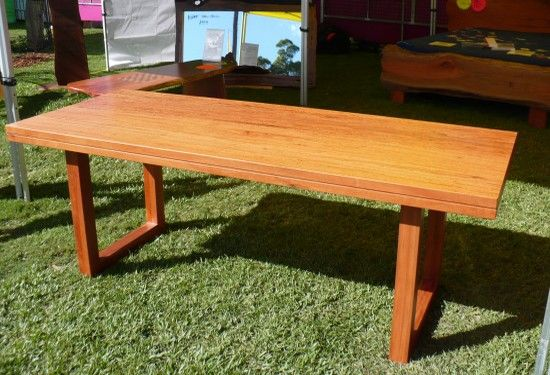 Kiln Dried Slab Timber Outdoor Table Blue Gum