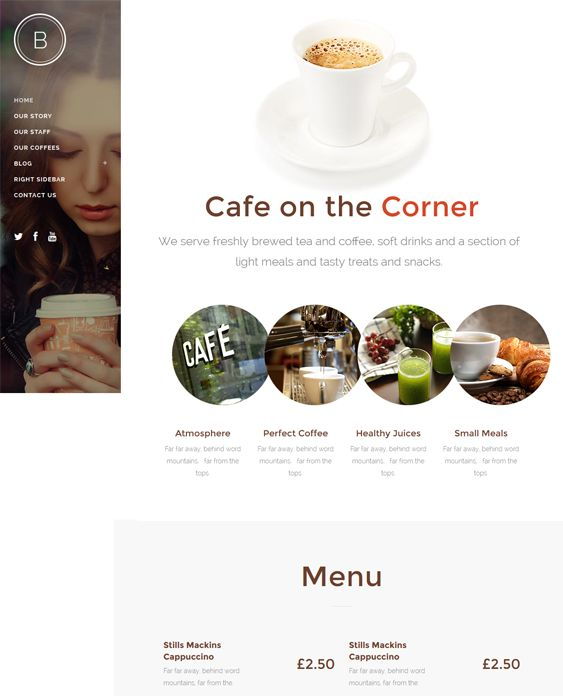 This restaurant theme for WordPress offers a slider, a fixed header, a mega menu, a responsive layout, optional Ajax animations, parallax pages, Visual Composer, a portfolio, search engine optimization, RTL language support, and more.