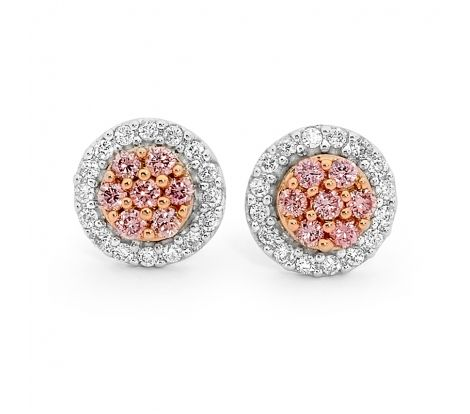 These 9ct rose and white gold diamond stud earrings from the Forever Pink collection feature natural pink and white diamonds totalling 0.25ct TDW and are a luxurious addition to any jewellery box.