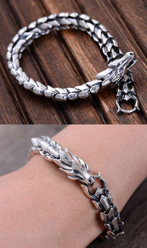Males's Sterling Silver Dragon Chain Bracelet – #aesthetic #bracelet #Chain #com…