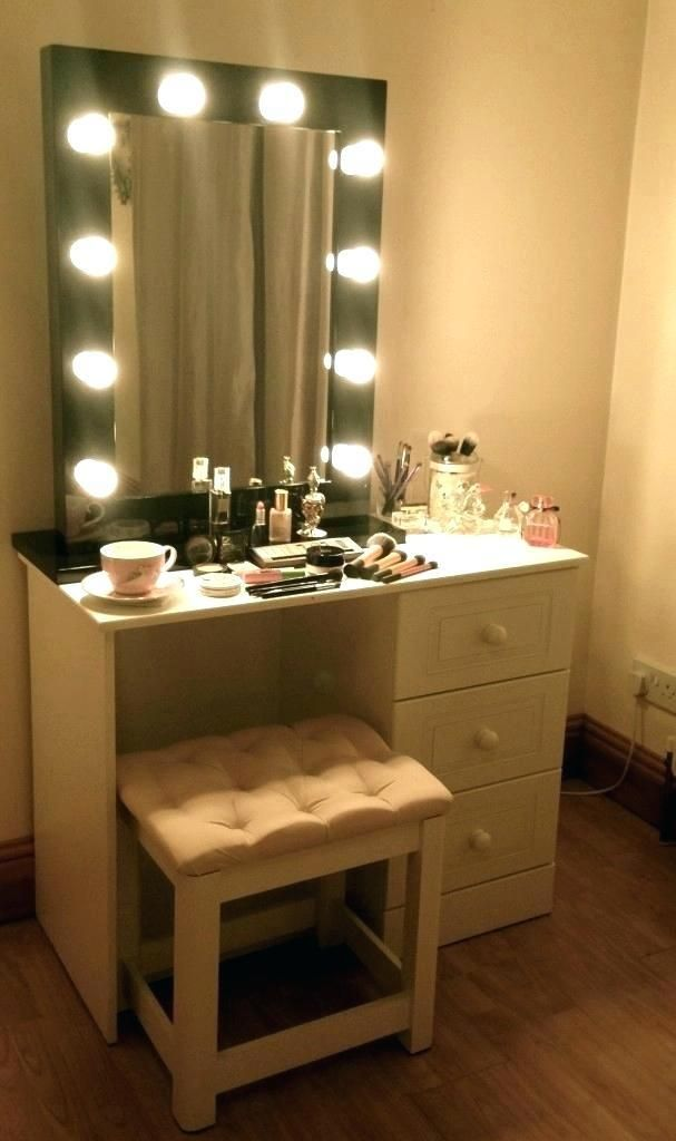 Lighting For Makeup Mirror Vanity Table With Lights Bedroom