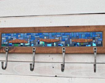 Entryway Coat Hooks, Coat Hooks, Mosaic Coat Rack, Wall Coat Rack, Blue Coat Rack, Hand-forged Hooks, Coat Rack Reclaimed Wood