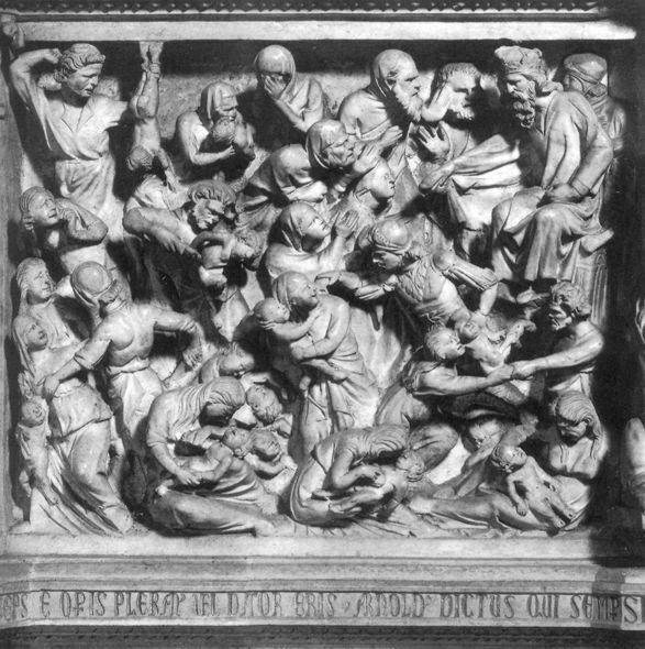 Избиение младенцев. Рельеф кафедры церкви Сант-Андреа в Пистойе. Джованни Пизано. 1301