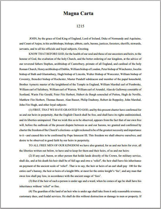 Magna Carta (1215) - complete primary source document (free printable PDF).