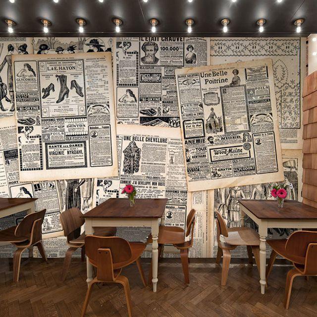 Estilo retro letras de periódico museo del café de restaurante occidental fondo de papel tapiz mural tela adhesiva