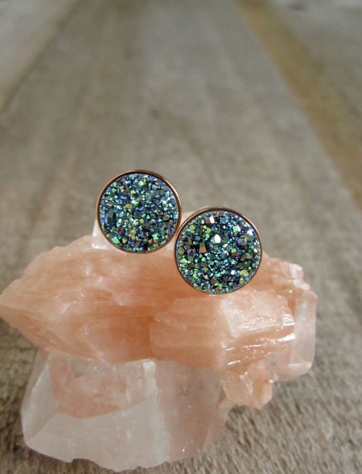Green Druzy Studs in Rose Gold, Drusy Earrings, Drusy Studs, Druzy Jewelry, Rose Gold Studs, Rose Gold Earrings, Bridesmaid Jewelry