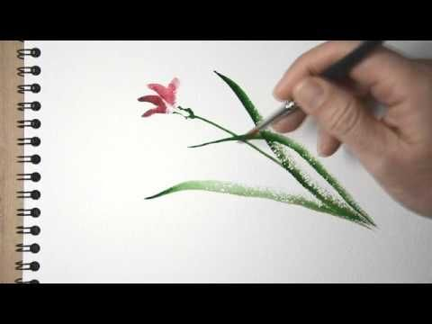 Aquarelle - peindre une orchidée sauvage - sumi-e watercolor tutorial