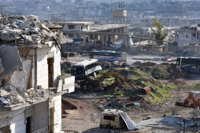 Aleppo battle: Hundreds leave Syria city as evacuations resume — BBC News