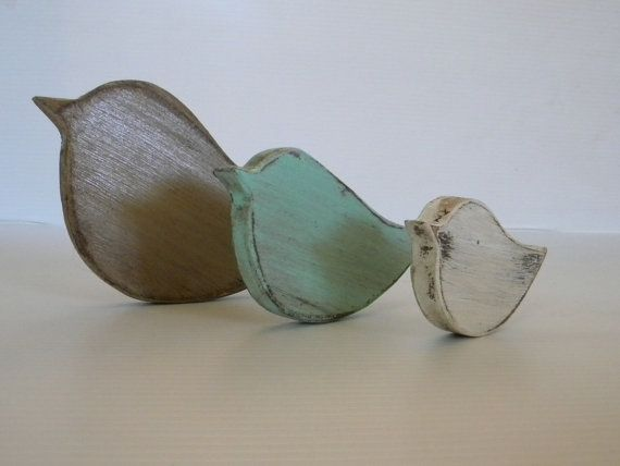 set of three wooden birds small bird medium by sERINasCustomShop, $20.00