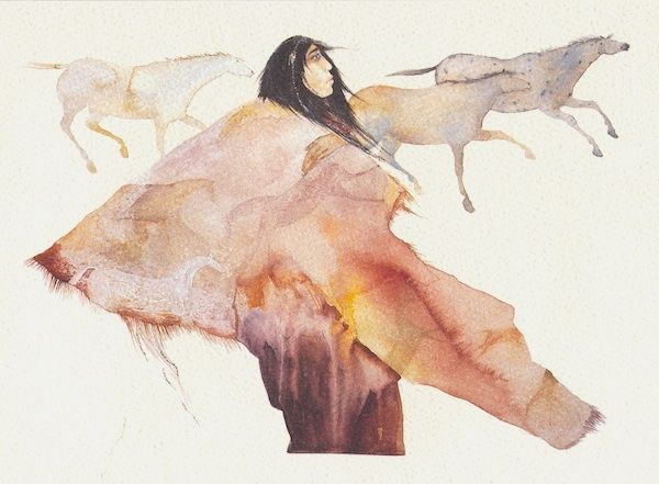 [Over burnt orange couch]     Wild Horse Woman