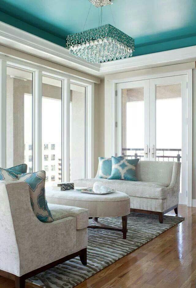 Rosamaria G Frangini   Architecture Interior Design    Turquoise ceiling