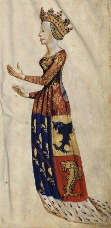 Anne d'Auvergne (1358 – 1417) , BnF Français 22297 fol. 15 | http://www.pinterest.com/donaniiiii/byzantine-and-middle-age-fashion/