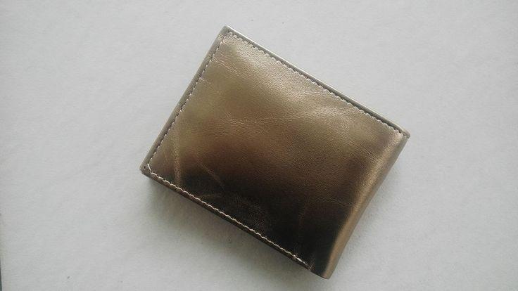 Hand Made Leather Wallet Men Golden Purse Bi Fold Card Holder Genuine Leather #Handmade #Bifold
