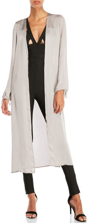 Missguided Ruched Tie Cuff Duster Jacket
