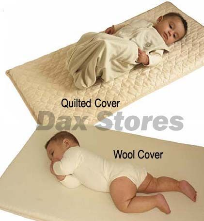 Organic Latex Regular Size Co-Sleeping Mattress ($177.62) : These co-sleeping mattress pads meet all fire codes without the use of dangerous fire retardant chemicals present in the original equipment vinyl mattress pad, and they are best for your baby's health. Dimensions: Quilted Outer Fabric: 24 inches wide by 38 inches long by 1.5 inches deep; Wool Outer Fabric: 26 inches wide by 38 inches long by 1.5 inches deep. Use an appropriately-sized board underneath the mattress pad for support.