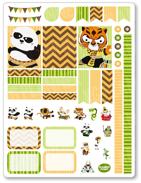 Kung Fu Friends Decorating Kit / Weekly Spread by PlannerPenny