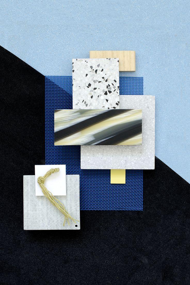 Material Mood Of The Week ~ Wowen Plastic Mesh & Glass Fiber #fiberline #mazzucchelli #rhödid #terrazzo #yarn #materials #blue #moodboard #materialmood #layering #inspiration #design #interiordesign #architecture #studiodavidthulstrup