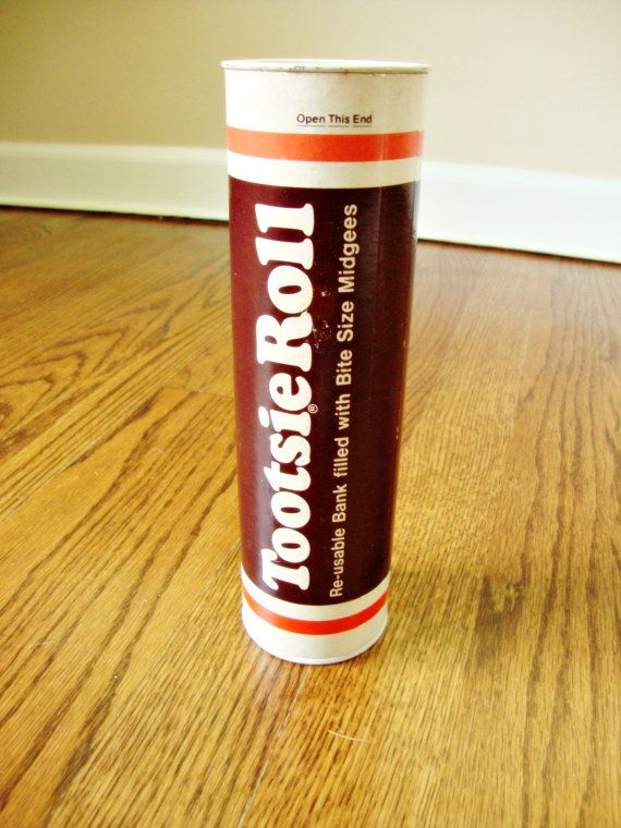 """Tootsie Roll Penny Bank~my brother ate every one in one of these banks, and puked violently for hours, I told my mom """"Geoff's pooping out his mouth!!!"""""""