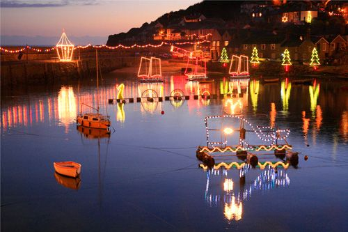 The famous Christmas lights of Mousehole, Cornwall, UK