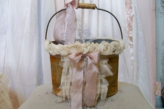 Rusty metal decorative pail flower girl basket by AnitaSperoDesign, $70.00