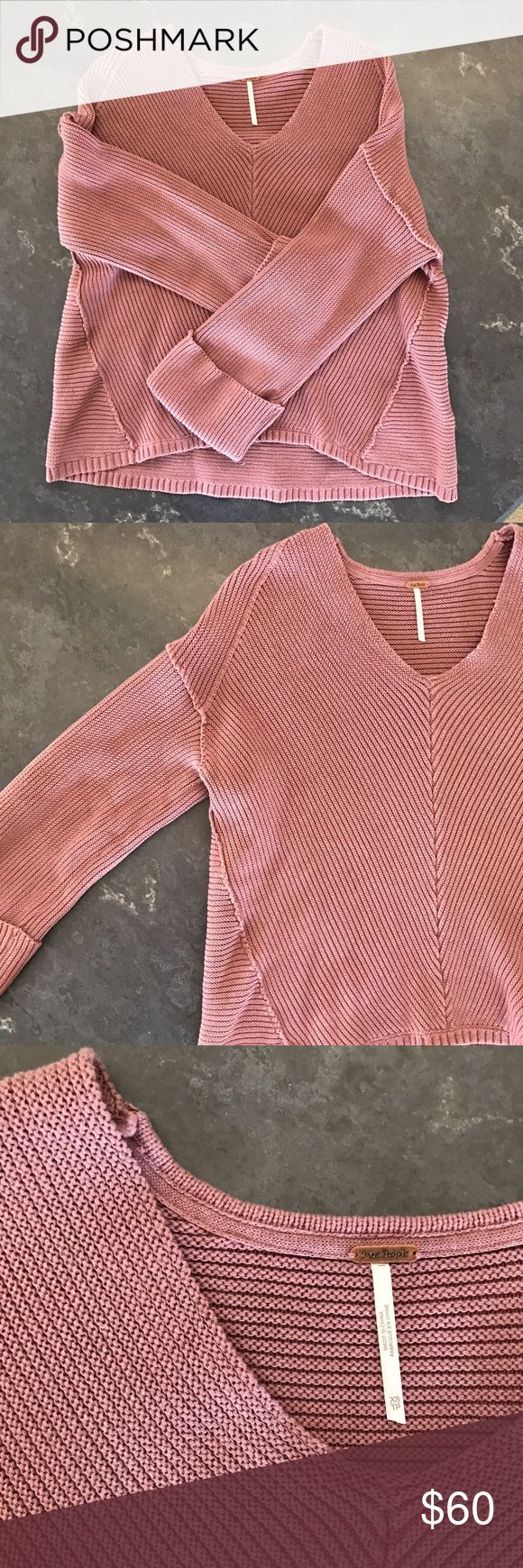 Free People La Brea v neck sweater In an oversized silhouette, this heavy knit sweater features a V-neckline with cuffed wide sleeves. This easy style is the perfect pullover. Only worn once, still in perfect condition! Free People Sweaters V-Necks