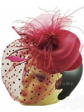 Elegant Red Top Hat Fascinator