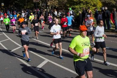 Runners run through Central Park while participating in the ING New York City Marathon on November 3, 2013 in New York City. - Andrew Burton/Getty Images