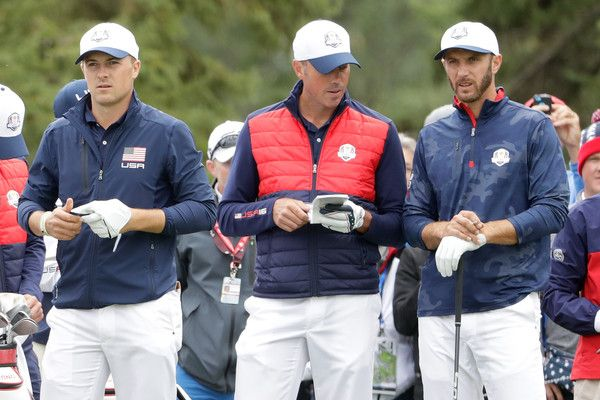 Dustin Johnson Photos Photos - (L-R) Jordan Spieth, Matt Kuchar and Dustin Johnson of the United States look on during practice prior to the 2016 Ryder Cup at Hazeltine National Golf Club on September 28, 2016 in Chaska, Minnesota. - 2016 Ryder Cup - Previews