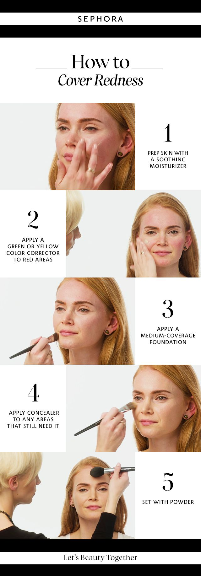 Learn how to cover redness. Want more details? Click the image to watch a full tutorial on our YouTube channel.