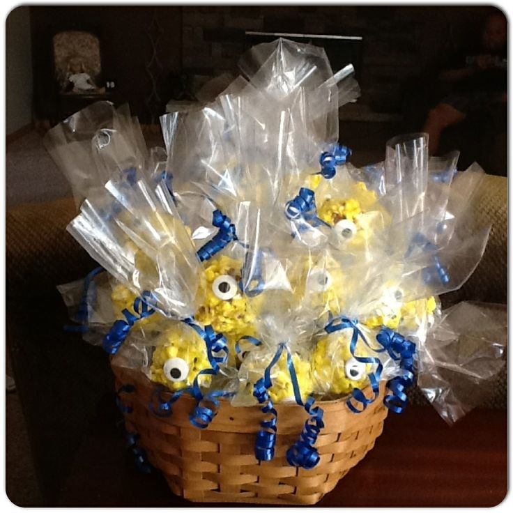 Despicable Me party favors - Minion popcorn balls