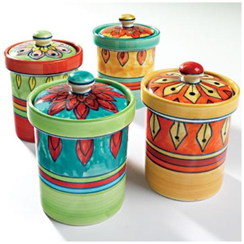 Handpainted Ceramic Storage Pots
